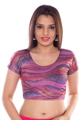 Purple lycra fabric printed stitched blouse
