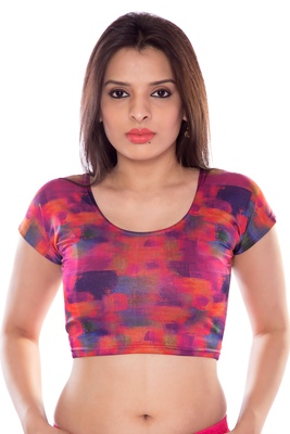 Orange and pink lycra fabric printed stitched blouse