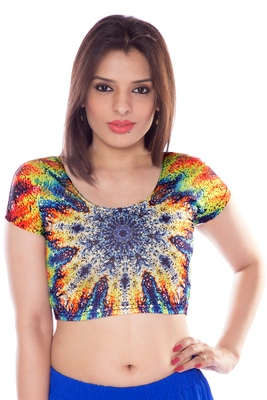Multicolour lycra fabric printed stitched blouse