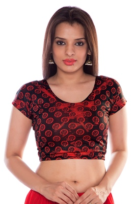 Black lycra fabric printed stitched blouse