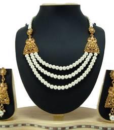 Aria Faux pearl champagne cz gold tone 3 line necklace earring set a2 shop online