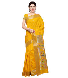 Buy Yellow woven art silk saree with blouse women-ethnic-wear online