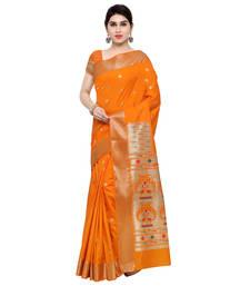 Buy Orange woven art silk saree with blouse art-silk-saree online