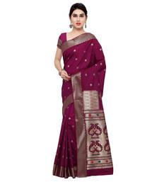 Buy Wine woven art silk saree with blouse art-silk-saree online
