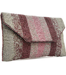 Buy Pink silver stripe beaded bag clutch online