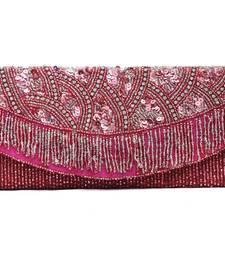 Buy Pink silver bead tassel bag clutch online