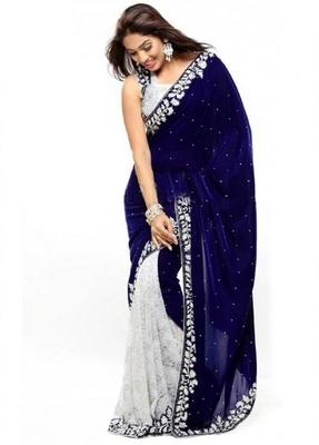 Blue brasso velvet saree with blouse