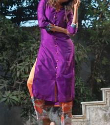 Purple plain art silk long-kurtis