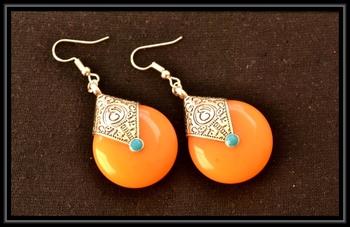 Royal yellow temple dangling earrings