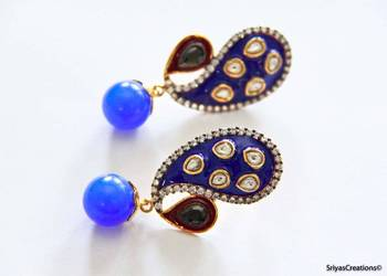 Blue Pear & Drop Earrings