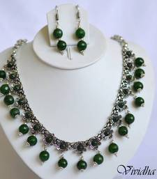 Buy White Metal and Green Beads Necklace set necklace-set online
