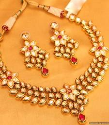 Buy Kundan Meenakari Ruby Uncut Polki Necklace Set necklace-set online