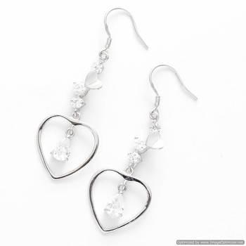 Heart Drop CZ Earrings