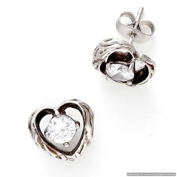 Oxidised Finish CZ Studs