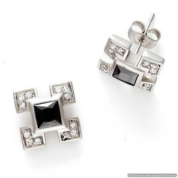 Black Agate and CZ Stud Earrings