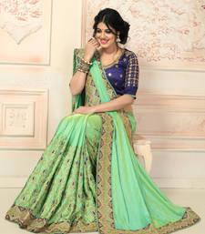 Buy Green embroidered art silk saree with blouse art-silk-saree online