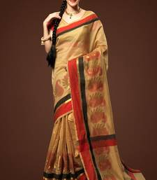 Buy beige woven chanderi saree with blouse chanderi-saree online