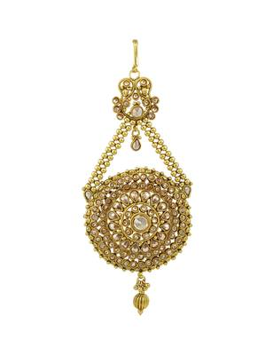 Golden Beige Polki Stones Passa Side Jhoomer Jewellery for Women - Orniza