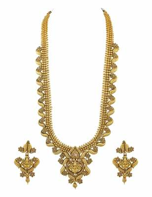 Golden Beige Temple Necklace Set Jewellery for Women - Orniza