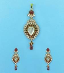 Buy Maroon Red Jadau Kundan Pendant Set Jewellery for Women - Orniza Pendant online