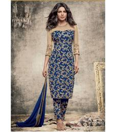 Buy Blue embroidered gerogette  and  net semi stitched salwar with dupatta semi-stitched-salwar-suit online