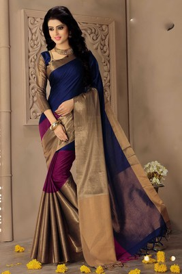 432314cd60 Multicolor printed cotton silk saree with blouse - Signature Fashion ...