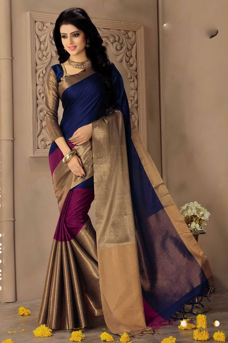 Buy Multicolor Printed Cotton Silk Saree With Blouse Online
