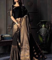 Buy Black woven cotton silk saree with blouse wedding-season-sale online