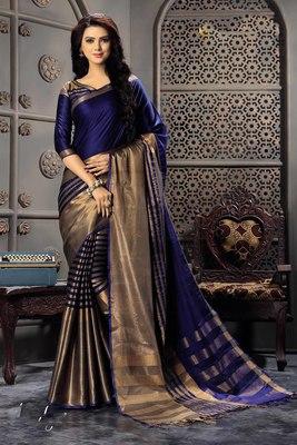 c42fe2c664 Navy blue woven cotton silk saree with blouse - Signature Fashion ...