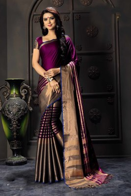 Purple printed cotton silk saree with blouse