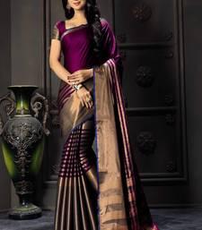 Buy Purple printed cotton silk saree with blouse mehendi-ceremony-dress online
