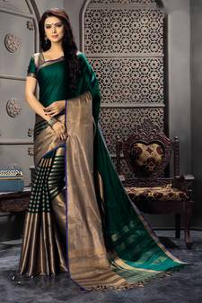 c95bb3f9666 Green woven cotton silk saree with blouse