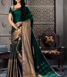 Buy Green woven cotton silk saree with blouse women-ethnic-wear online