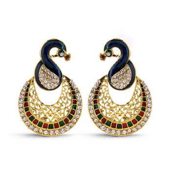 Multicolor Peacock Design Meenakari Gold Finish Dangal Earrings