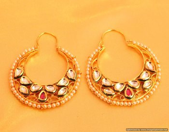 Kundan Meenakari Pearl Chaand Baali Earrings