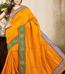 Buy Amazing Mustard Color Bhagalpuri Silk Saree with Blouse bhagalpuri-silk-saree online