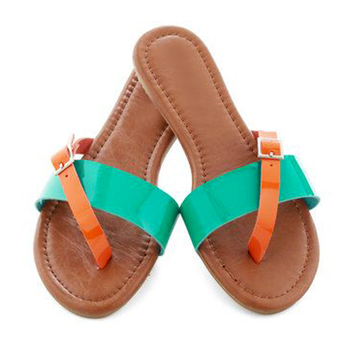 Sea green n Orange Flats