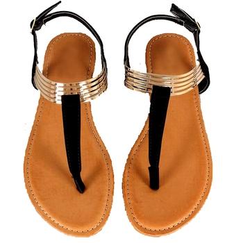 Black n Golden 'T' style Sandal