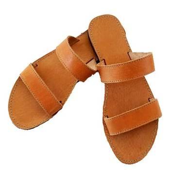 Brown Double Belt Flats