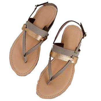 Grey n Gold double belt 'V' Sandal