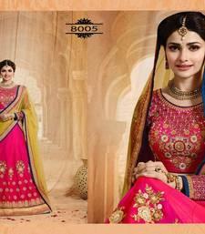 Buy Rani pink embroidered art silk unstitched lehenga lehenga-choli online