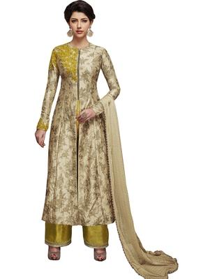 Beige embroidered art silk semi stitched salwar with dupatta