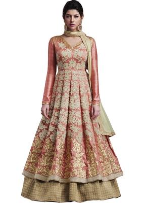 Peach Embroidered Banarasi Silk Semi Stitched Anarkali Suit