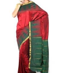 Buy Sudarshan silks Pure Silk  Kanjeevaram Hand women Saree-Red-SLV21-VS-Silk kanchipuram-silk-saree online