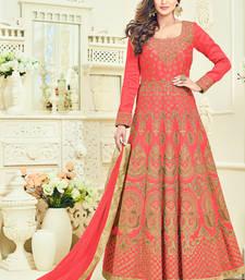 Buy Dark peach embroidered art silk semi stitched salwar with dupatta eid-special-salwar-kameez online