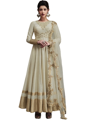 Off white embroidered art silk semi stitched salwar with dupatta