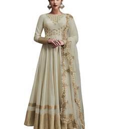 Buy Off white embroidered art silk semi stitched salwar with dupatta diwali-salwar-kameez online
