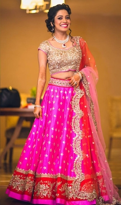 Pink embroidered banglory silk unstitched lehenga