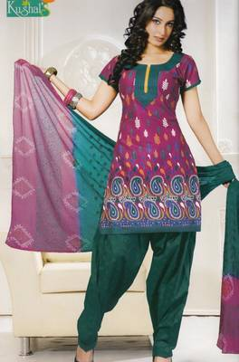 Printed With Chiffon Dupatta Unstitched Suit D.No 103