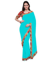 Buy Skyblue plain georgette saree with blouse